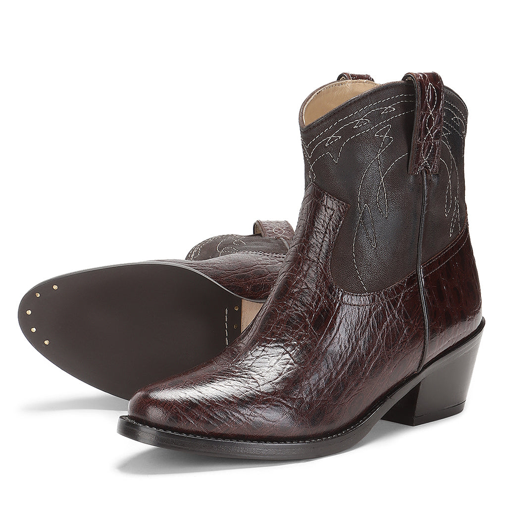 Saint Ottavia Brown Patent Leather Ankle Boots