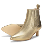 Saint Massima Crackle Metallic Gold Leather Ankle Boots