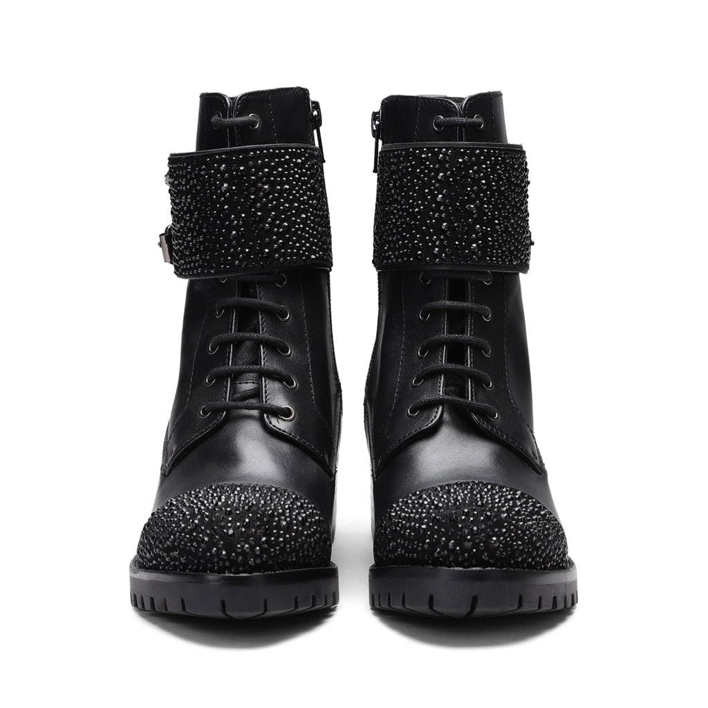 Saint Binita Black Studded Buckle Strap With Lace Up Boots