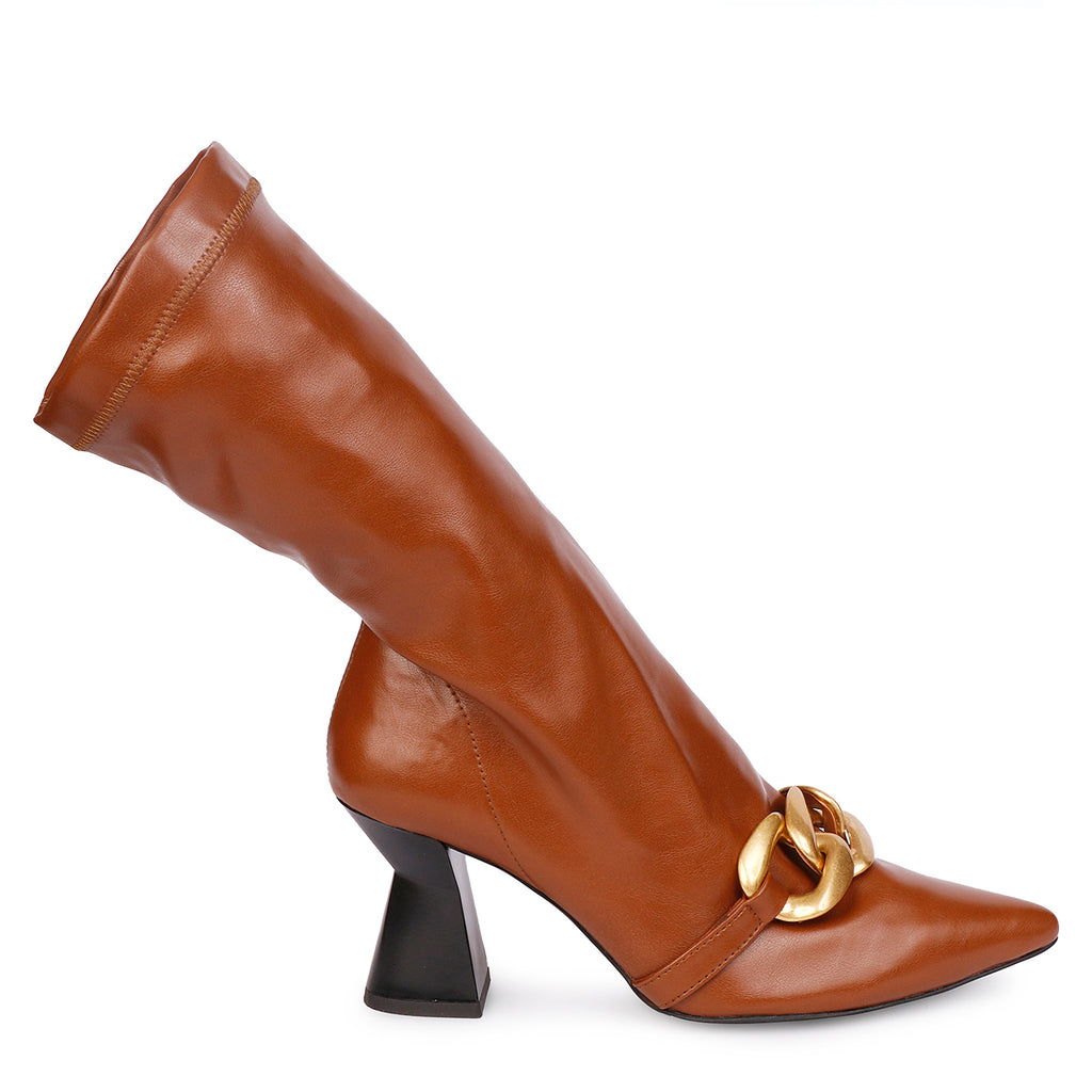 Saint Ilaria Nude Leather Ankle Boots