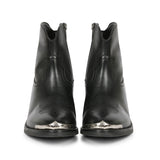 Saint Teresa Black Leather Ankle Boots with Metal Accessories - SaintG India