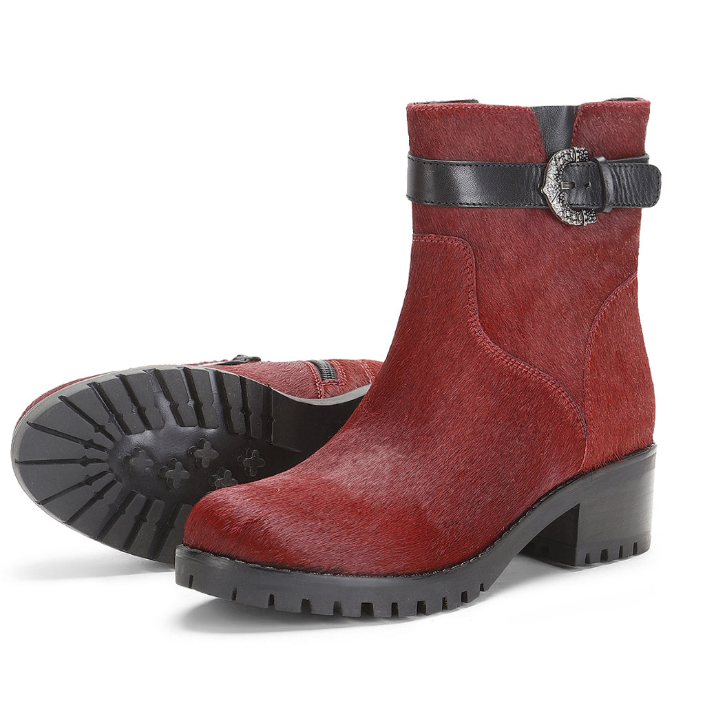 Saint Graziana Red Pony Hair Leather Ankle Boot