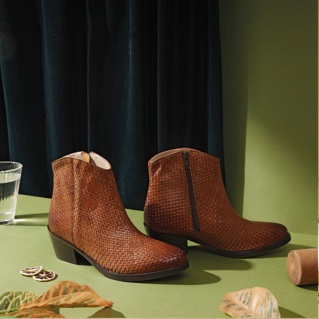 Saint Leone Tan Woven Burnished Leather Ankle Boots - SaintG India