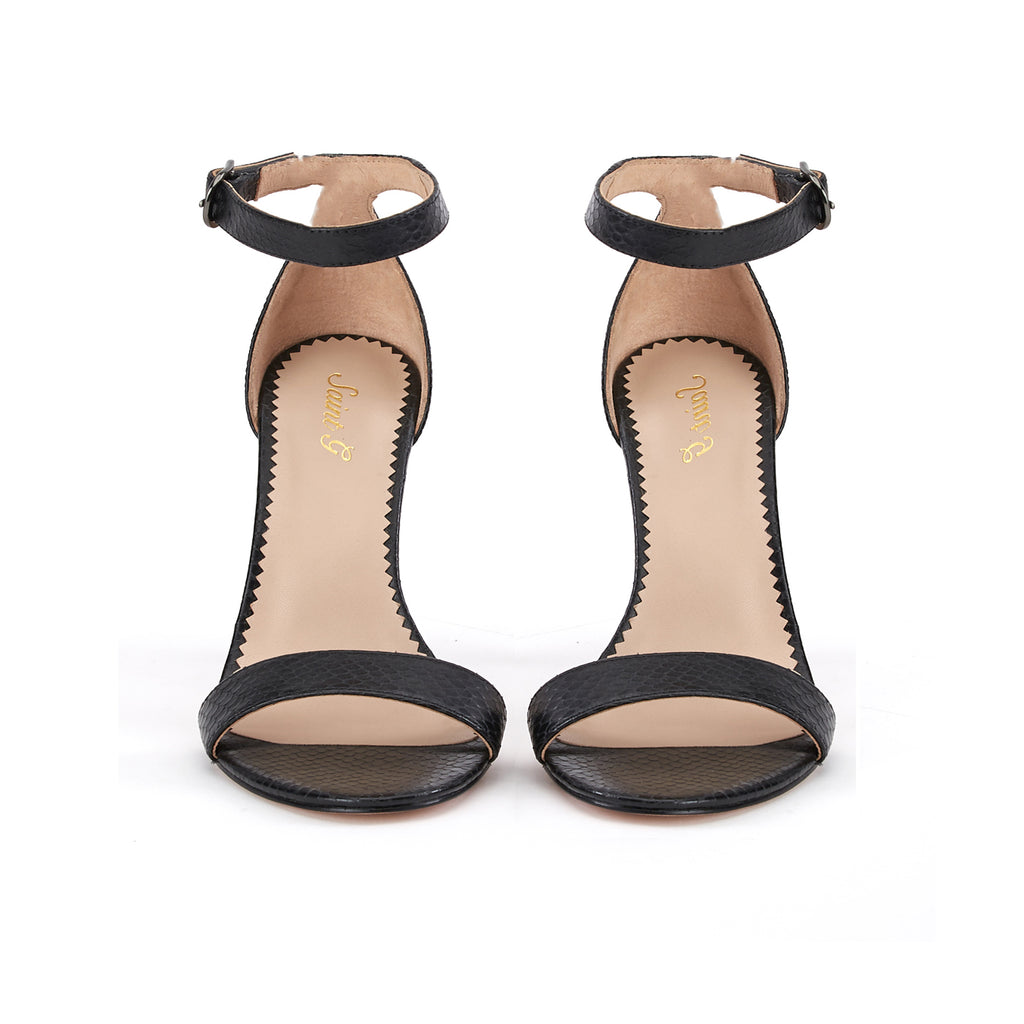 Saint Elyse Black Leather Heel - SaintG India