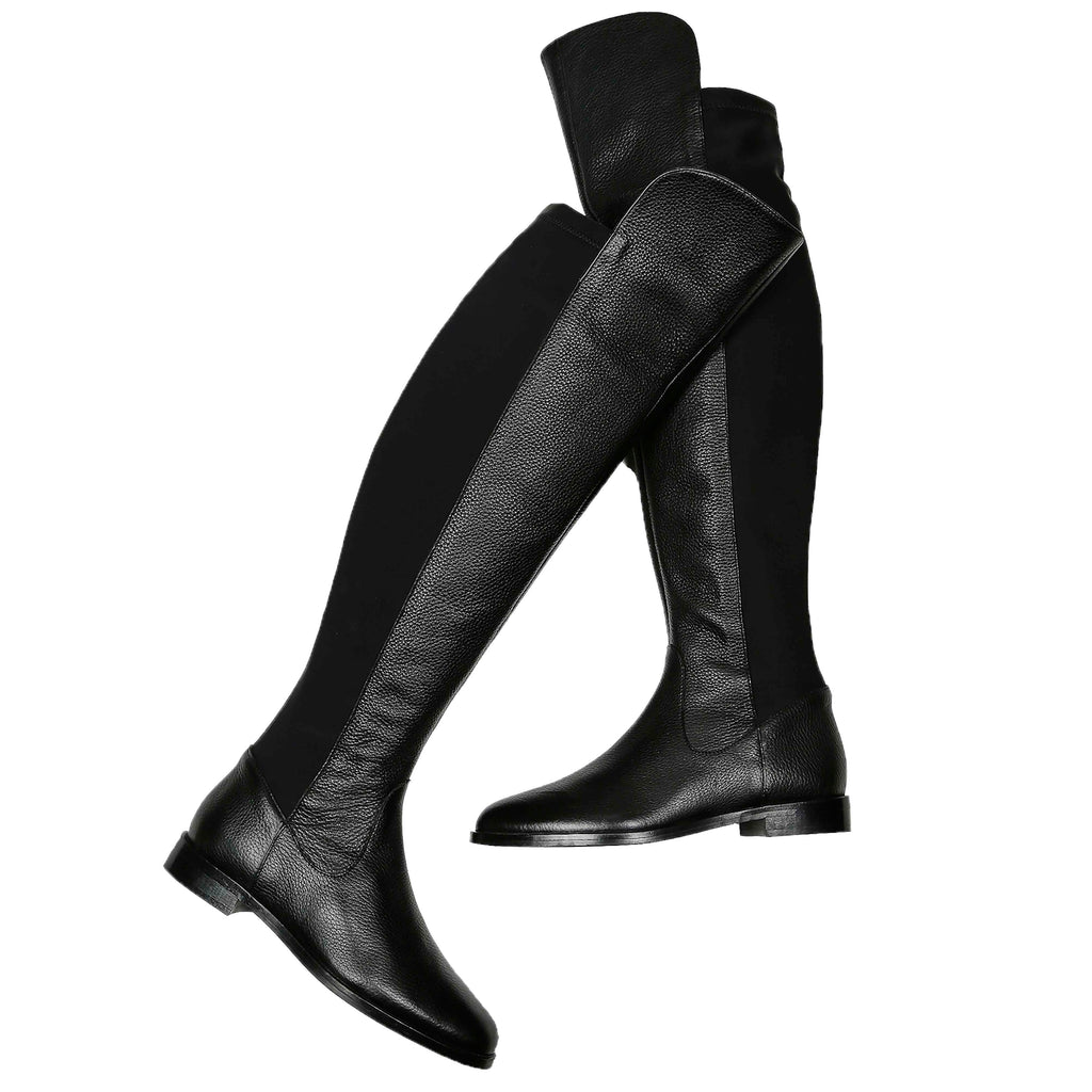 Saint Kelly Black Leather Above The Knee Boots - SaintG India