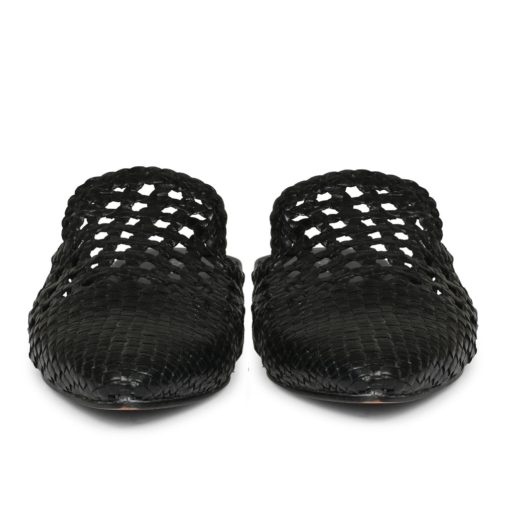 Saint Messy Woven Leather Flats Muels. - SaintG India