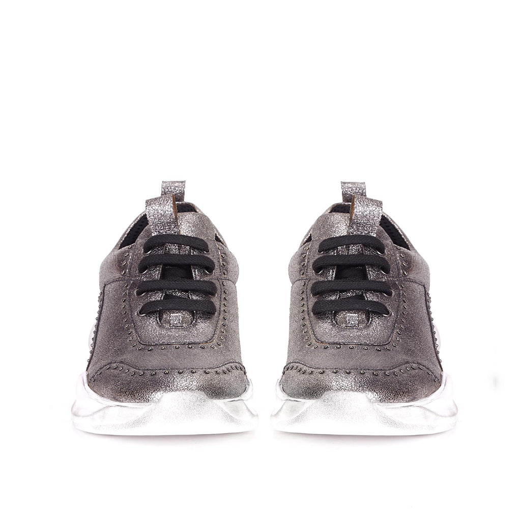 Saint Alaricia Pewter Crackle Leather Sneakers - SaintG India