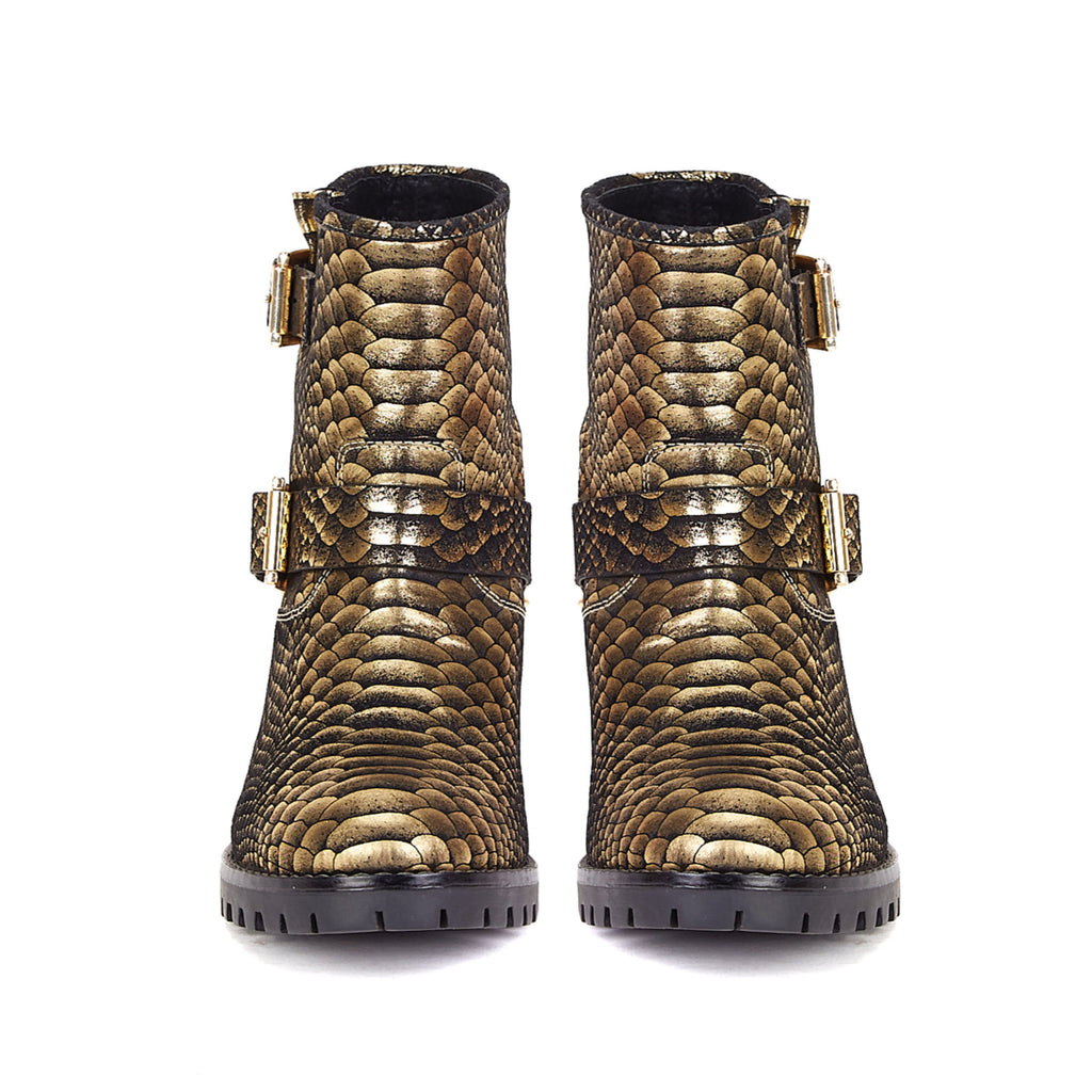 Saint Aloisa Metallic Gold Snake Print Leather Boot - SaintG India