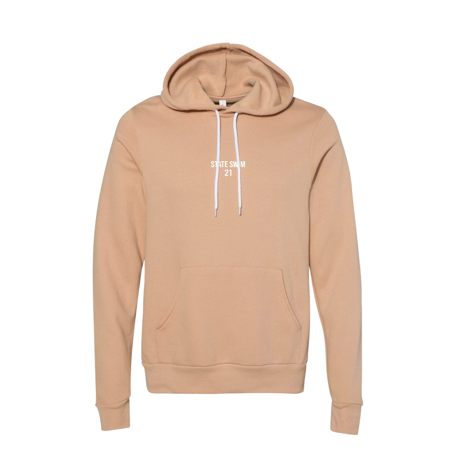 State Swim Heather Sand Dune Hoodie Small Logo