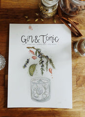 Gin and tonic watercolor illustration print
