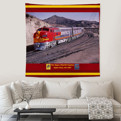 Famous Warbonnet-Super Chief Passenger Train Tapestry