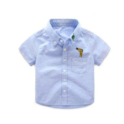 Boys blue top with Girafee