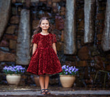 Raven Zia - Indi Burgundy sequins girls party dress
