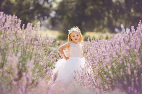 Raven Zia - Hannah gold sequins, tulle flower girl dress