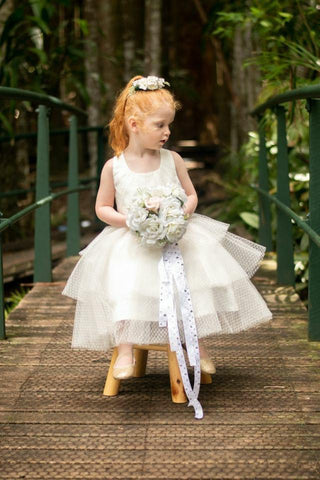 Raven Zia - Alyssa white tulle flower girl dress