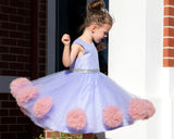 Raven Zia - Lily a Lavender tulle pompom flower girl dress or party