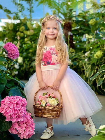Raven Zia - Saydee floral printed tulle wedding flower girl or party dress