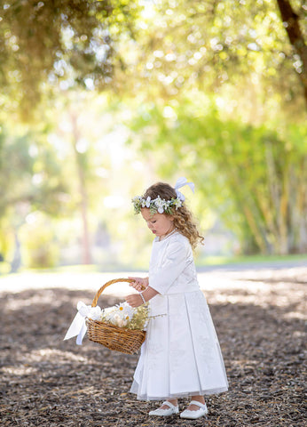 Raven Zia - Suzanne modest satin lace flower girl dress