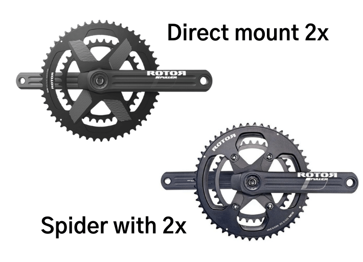 Rotor INPower bike power meter crankset with Direct Mount and spider chainrings