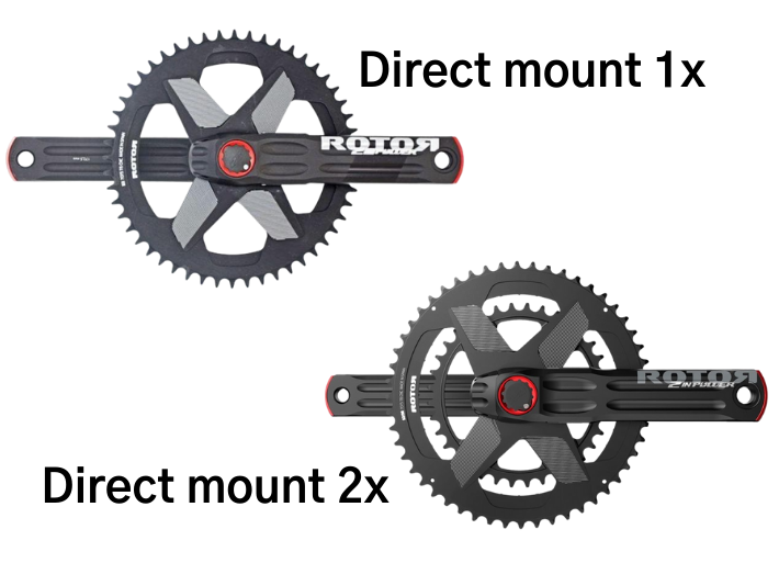 Comparison of Rotor Direct Mount single 1x and double 2x chainrings for 2INPower & INPower power meters