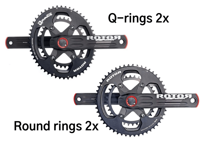 What is the difference between Q-Rings and NoQ Round Rings for a bike chainset