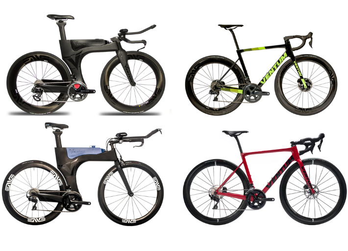 Group picture of the Ventum bike range. NS1, One and Z