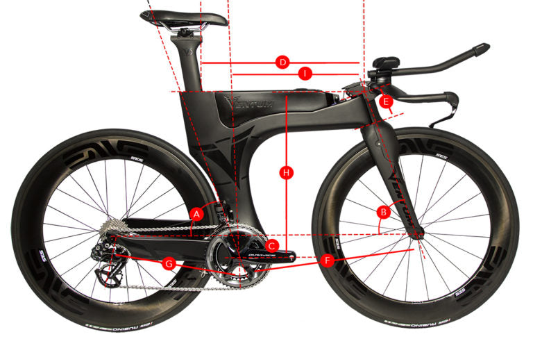 Geometry and sizing of the Ventum One Triathlon bike