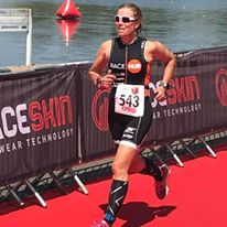 Claire Adam finishing the Notts Sprint triathlon
