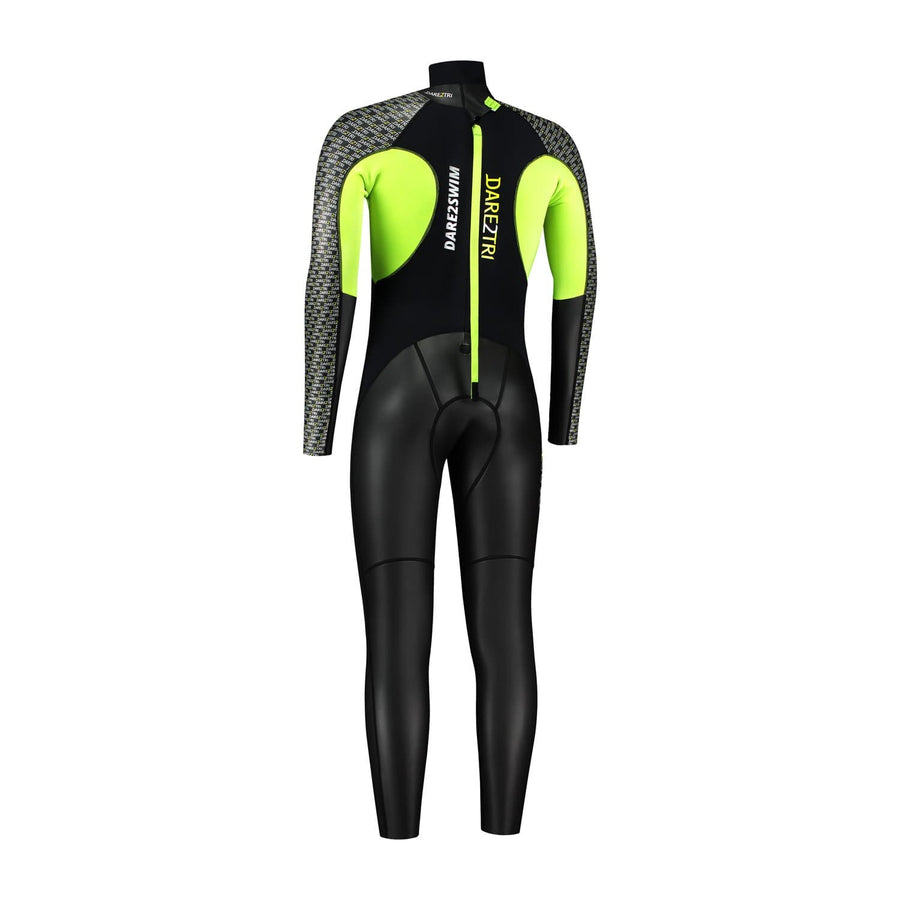 Dare2Swim Dare to swim tri wetsuit for triathlon. Men's. Back view. Black with yellow panels