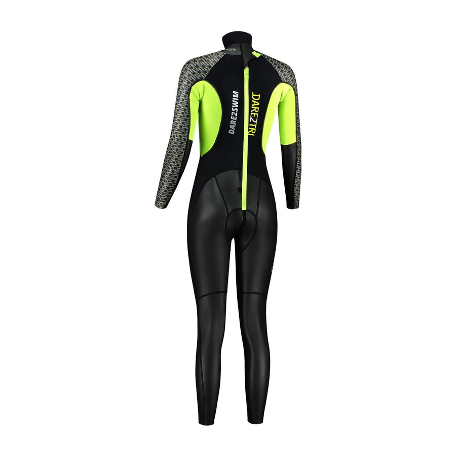Dare2Swim Dare to swim tri wetsuit for triathlon. Women's. Back view. Black with yellow panels