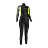 Dare2Swim Dare to swim tri wetsuit for triathlon. Women's. Front view. Black with yellow panels