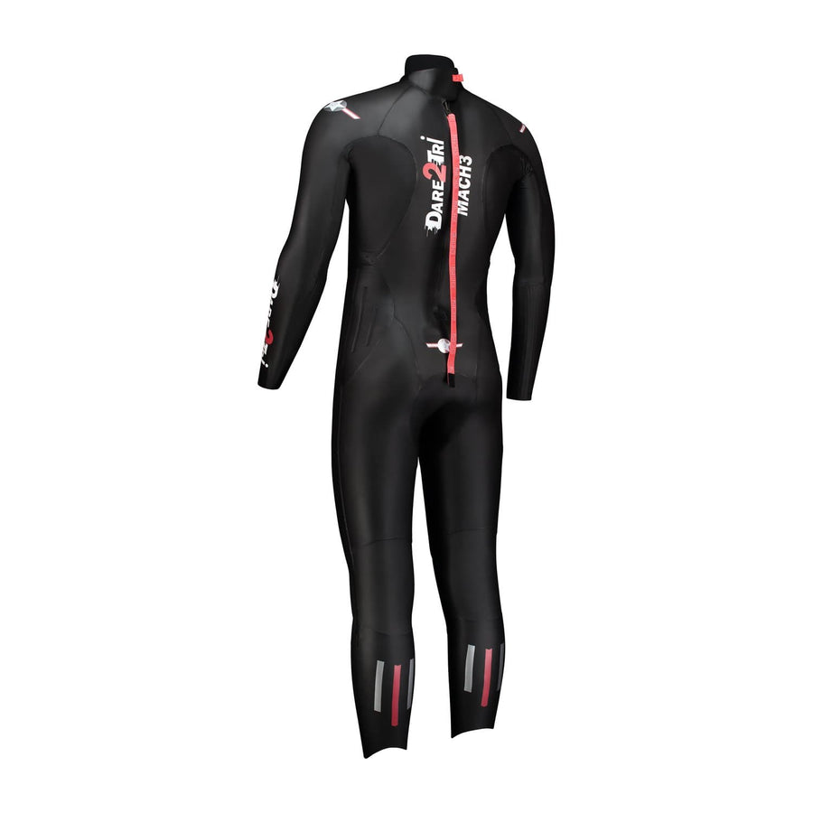 Dare2Tri Dare to tri race wetsuit for triathlon. Men's. Back view. Black with red and silver stripes