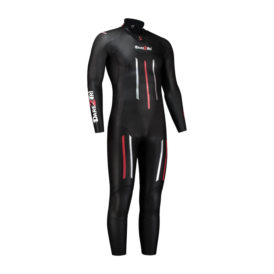 Dare2Tri Dare to tri race wetsuit for triathlon. Men's. Front view. Black with red and silver stripes