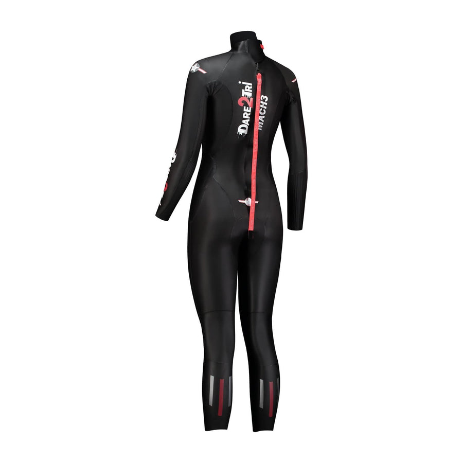 Dare2Tri Dare to tri race wetsuit for triathlon. Women's. Back view. Black with red and silver stripes