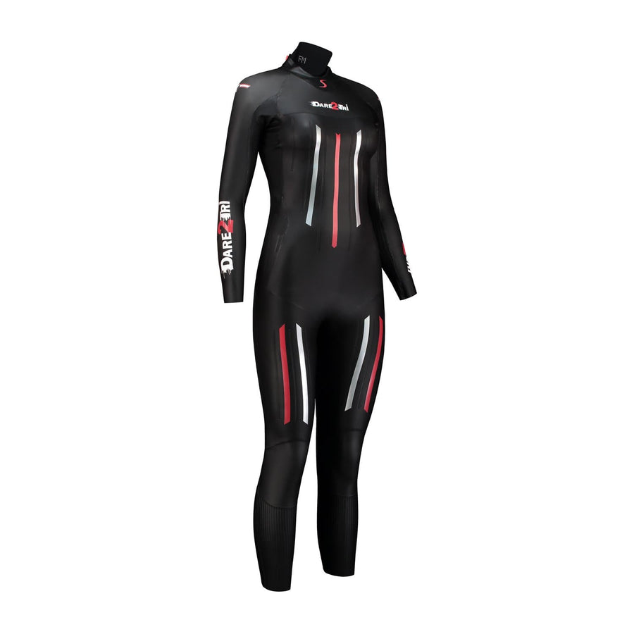 Dare2Tri Dare to tri race wetsuit for triathlon. Women's. Front view. Black with red and silver stripes