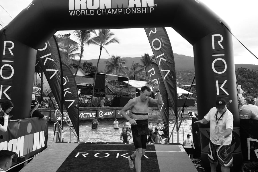 Dr Dan Plews sports scientist and founder of EndureIQ exiting the swim in Kona ironman triathlon world championship