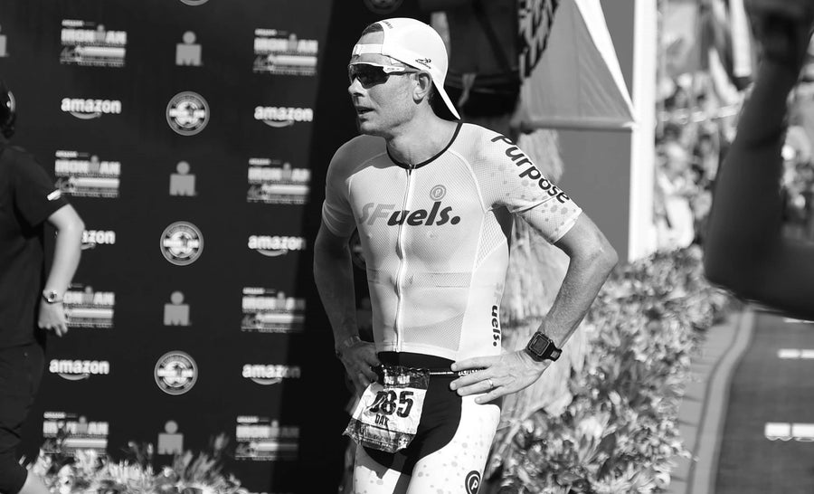 Dr Dan Plews sports scientist and founder of EndureIQ finishing a triathlon