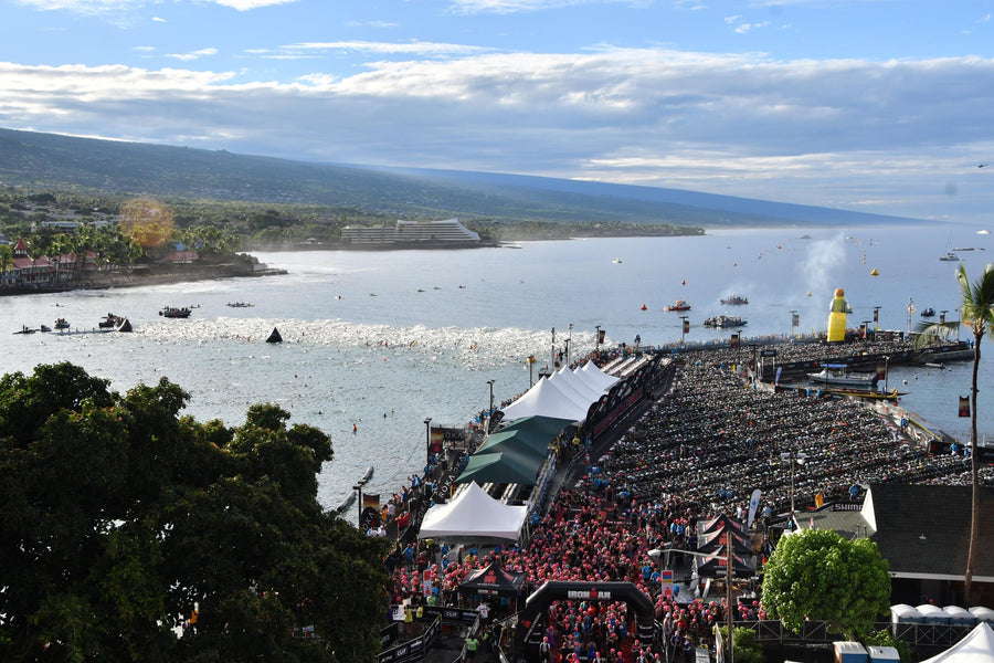 A view of the swim start at Kona ironman triathlon world championships