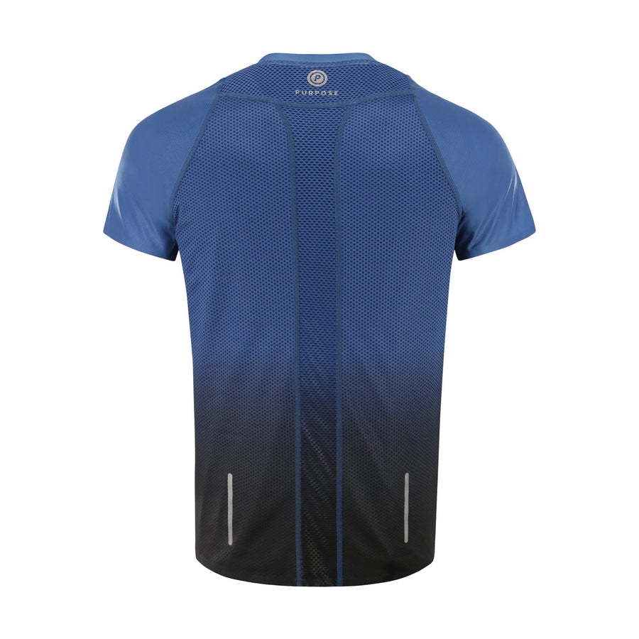 Purpose Pro Running T-Shirt for hot weather. Transcend blue. Back view