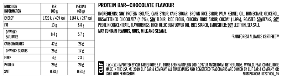 Clif Builder protein bar nutrition information: chocolate flavour