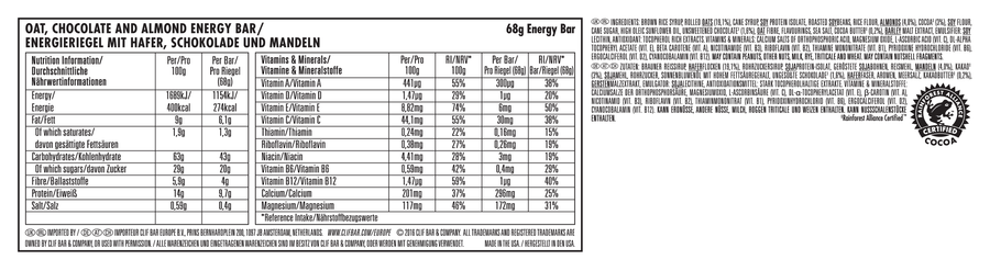 Clif Bar nutritional information: Chocolate Almond Fudge flavour
