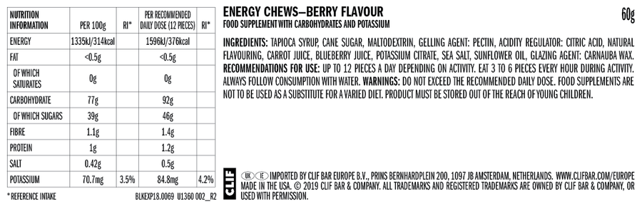 Clif Bloks Mountain Berry nutritional info