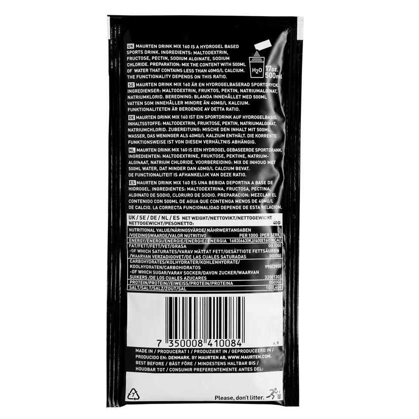 Maurten Drink Mix 160 Hydrogel Sports Fuel - Back of packet