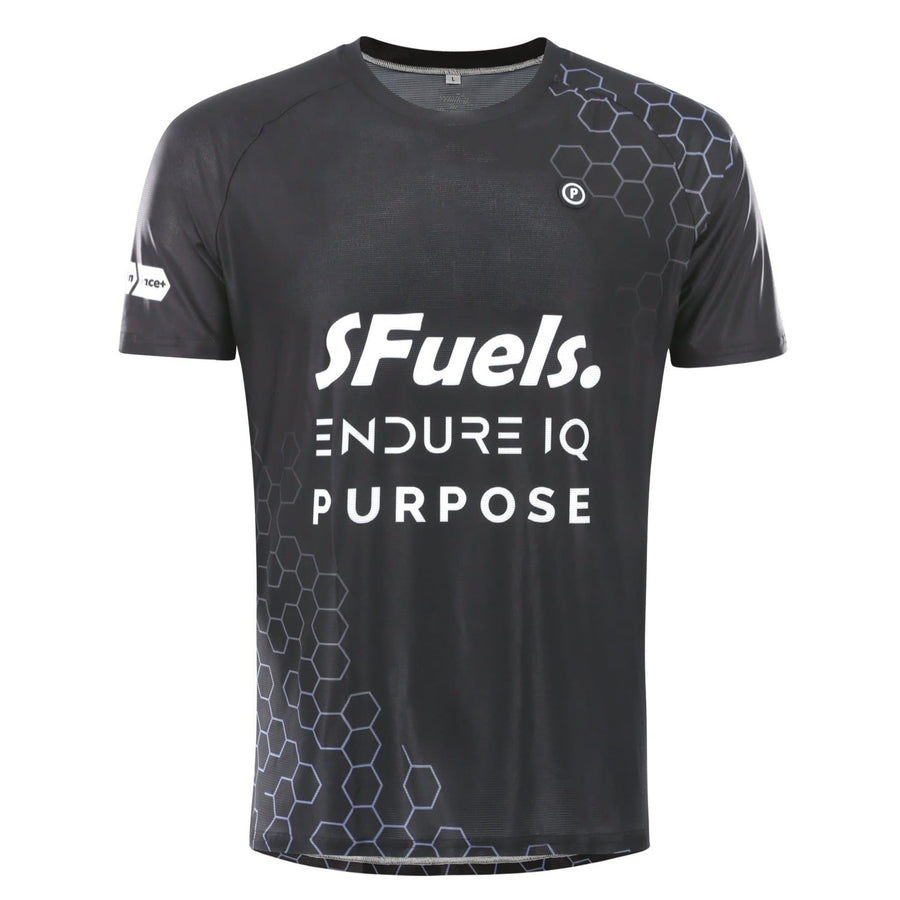Purpose SFuels EndureIQ racing T-shirt for hot weather.  Front view. Black