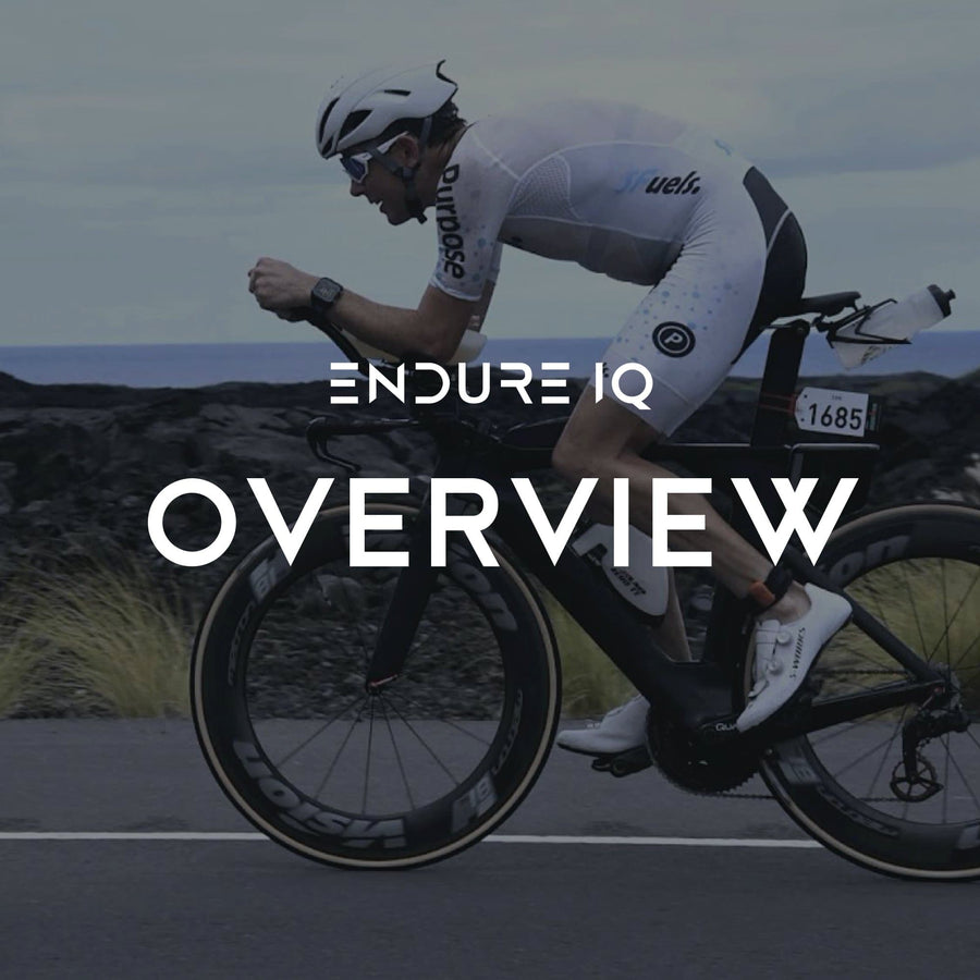Endure IQ header over image of a triathlon cyclist wearing purpose endureIQ sfuels trisuit