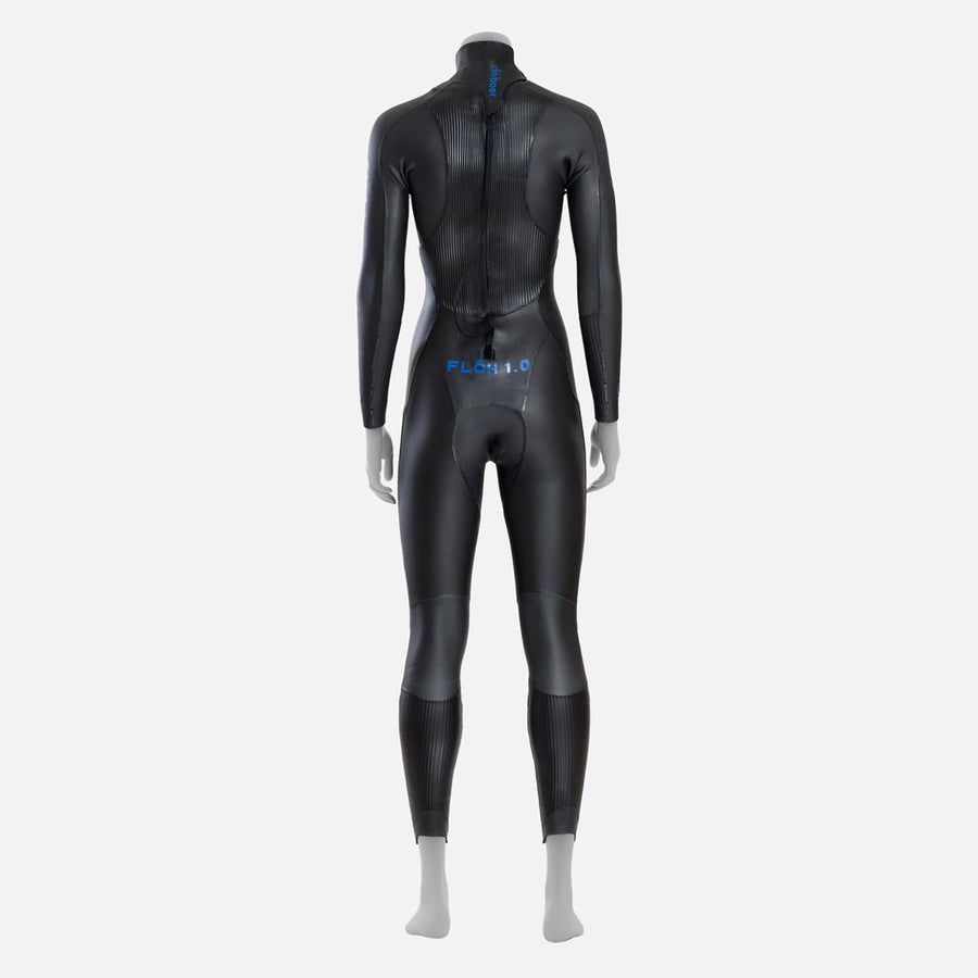 deboer Floh 1.0 triathlon and open water swimming elite race wetsuit.  Women's.  Back view. Black with blue deboer logo