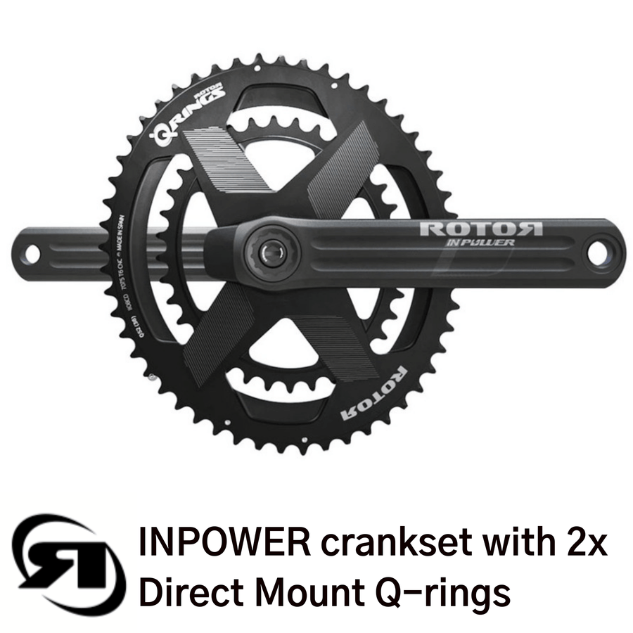 Rotor power meter | INPower Direct Mount | complete set up with 2x double Q oval direct mount chainrings