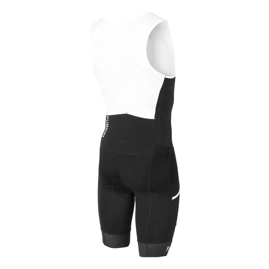 Fusion Multisport tri suit.  Black and white. Rear view