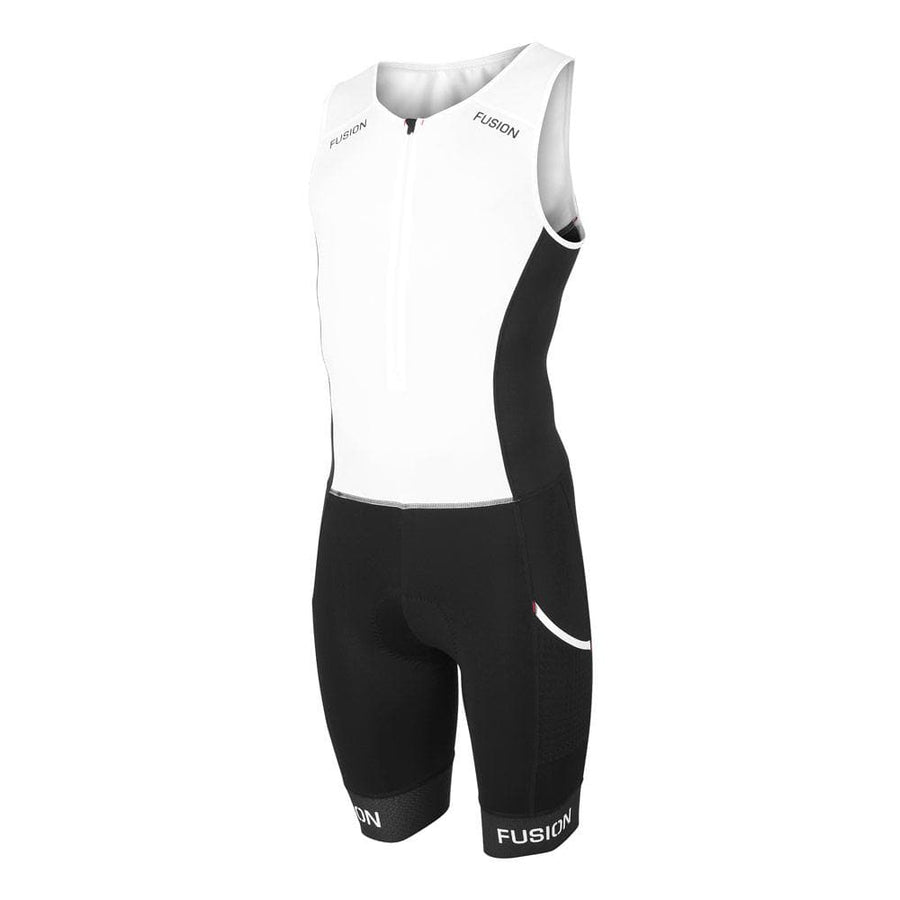 Fusion Multisport tri suit.  Black and white