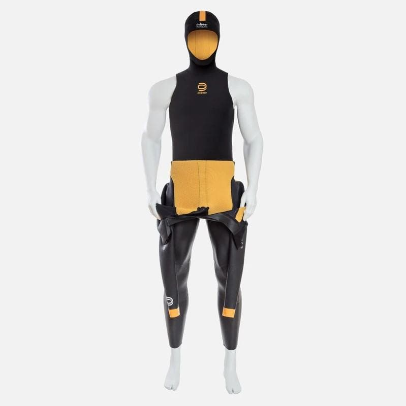 deboer polar hoodie for winter swimming.  Black limestone neoprene with yellow ThermaFur lining